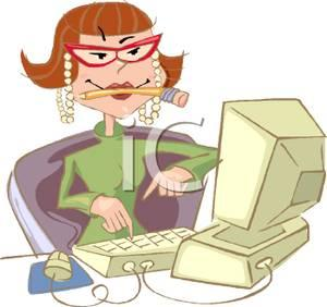 cartoon_secretary_typing_on_a_computer_with_a_pencil_in_her_mouth_royalty_free_clipart_picture_100115-044406-3980421353286795664