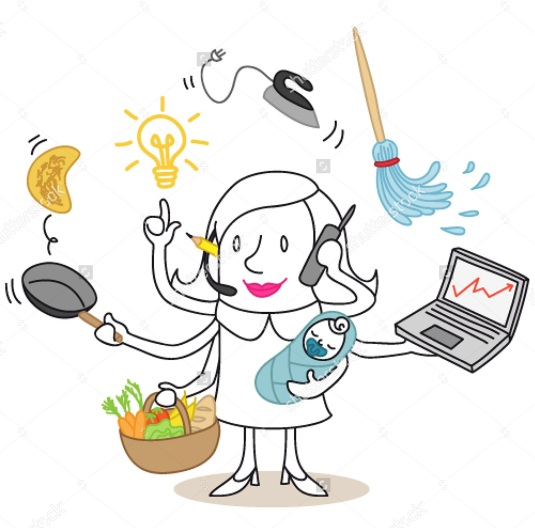 stock-vector-vector-illustration-of-a-monochrome-cartoon-character-multitasking-woman-cooking-parenting-182793053